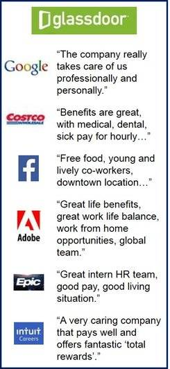 Top companies regarding benefits and compensation, quotes.